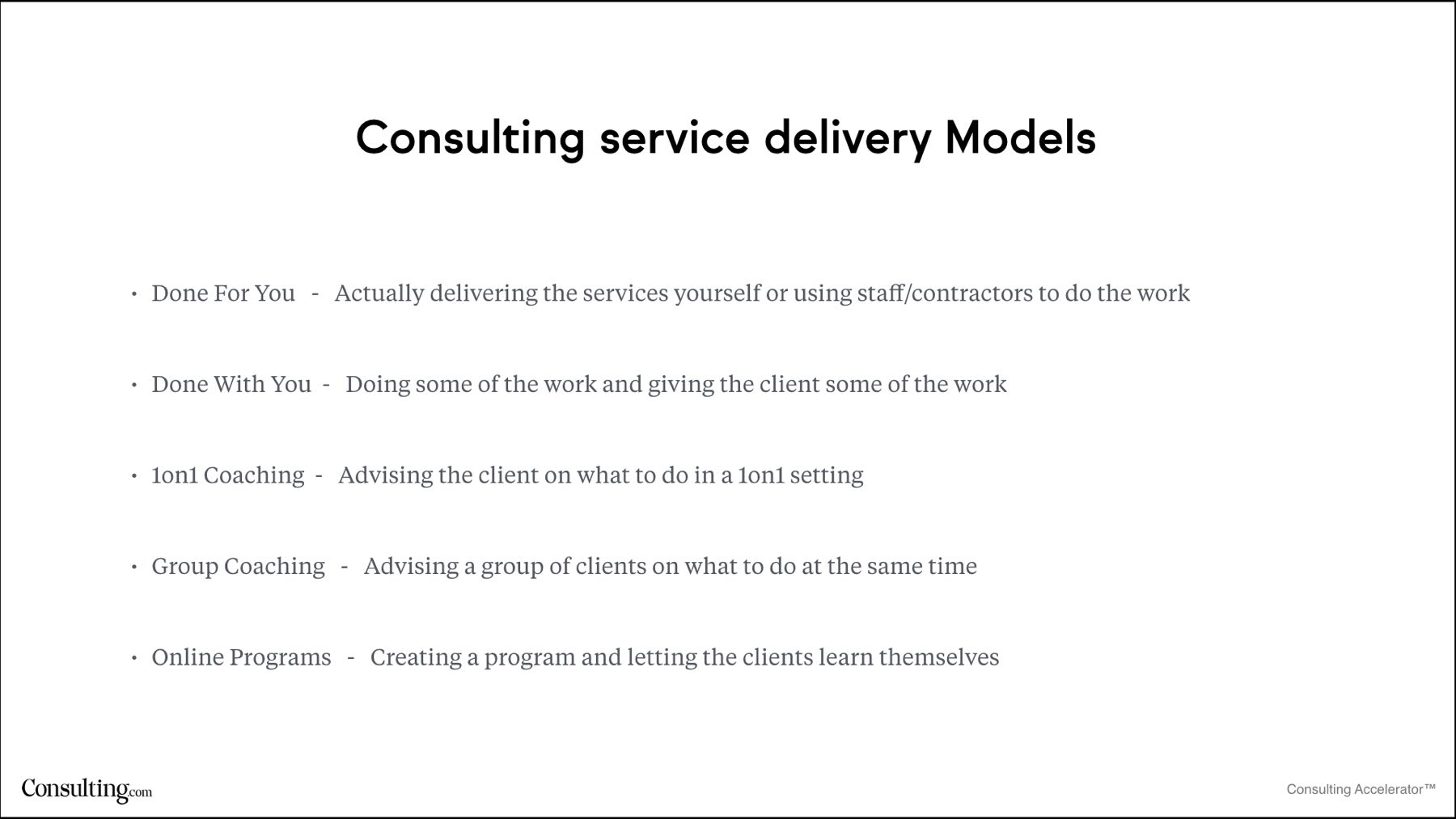 Consulting service delivery models